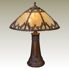 Large Stunning Woodland Slag Glass Lamp w/ Opalescent Glass Shade