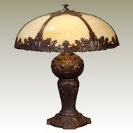 Large Magnificent Grapevine Slag Glass Lamp w/ Huge Fabulously Designed Base