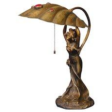Marvelous Art Nouveau Sweet Lady Desk Lamp w/ Brass Jeweled Shell Shade