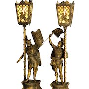 Large Fabulously Ornate Pair Manly Knights Figural Newel Post/ Mantle Slag Glass Lamps