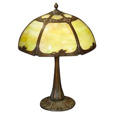 Gorgeous, Beautifully Cast Art Nouveau Slag Glass Lamp