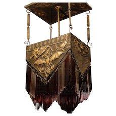 Rare pre-1900 Jugendstil Art Nouveau Copper Bat Chandelier