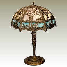 Lovely Scenic Double Panel Slag Glass Lamp