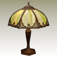 Large Stately Gothic Art Nouveau Slag Glass Panel Lamp