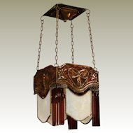 Sweet Jugendstil Copper Art Nouveau Fairy Hanging Lamp w/ Opaline Glass Panels