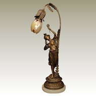 Lovely Art Nouveau Dancing Girl Lamp w/ Marmoratus Shell Petal Shade