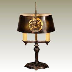 Cut Brass Bouillotte  Lamp w/ Engraved Ship Design