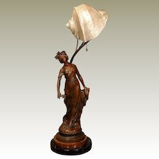 Large Art Nouveau Star Lady Art Lamp w/ Marmortus Shell Shade