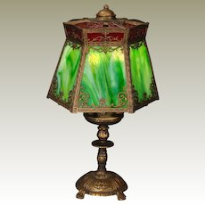 Unusual Double Panel Slag Glass Bouillotte Lamp