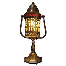 Ornate Brass Harp Desk/ Accent Adjustable Lamp w/ Mica Lined Shade