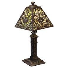 Beautifully Ornate Ronson Slag Glass Boudoir Lamp