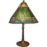Large Fabulous Bradley & Hubbard Arts & Crafts 32 Panel Leaf Slag Glass Lamp