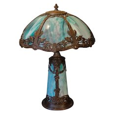 Beautiful Art Nouveau Floral Slag Glass Lighted Base Lamp