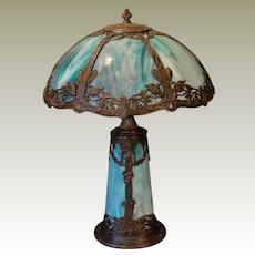 Beautiful Art Nouveau Floral Slag Glass Lighted Base Lamp