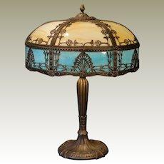 Large Art Nouveau Royal Art Glass Co. Double Panel Slag Glass Lamp