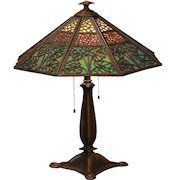Fabulous Bradley & Hubbard Arts & Crafts 24 Panel Slag Glass Lamp