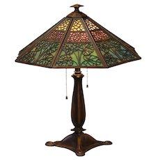Fabulous Bradley & Hubbard Arts & Crafts 24 Panel Slag Glass Lamp