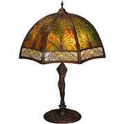 Lavish Bronze Art Nouveau Figural Lamp w/ Triple Panel Slag Glass Shade
