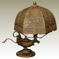 Rare Bradley & Hubbard Miniature Aladdin`s Lamp w/ Slag Glass Crochet Shade