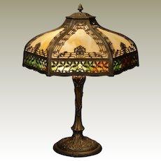 Large Sumptuous Leaf & Berry Double Panel Slag Glass Lamp