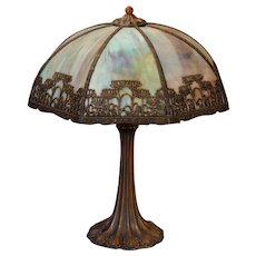 Alluring Art Nouveau Flower Slag Glass Lamp