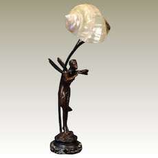 Magical Art Nouveau Fairy Figural Lamp w/ Marmoratus Shell Shade