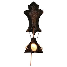 Rare Jugendstil Art Nouveau Hand Made Copper Sconce w/ Shell & Jewel Shade