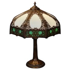Large Ornate Double Panel Slag Glass Lamp