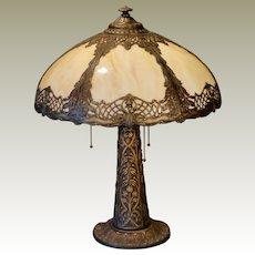 Large Ornate Art Nouveau 3 Socket Slag Glass Lamp