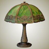 "Large Sunflower Slag Glass Lamp w/ 20"" Shade"