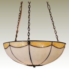 Lovely Leaded Double Panel Slag Glass Hanging Lamp