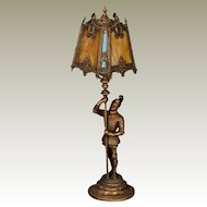 Handsome Gothic Medeival Knight w/ 8 Panel Slag Glass Shade
