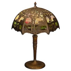 Miller Scenic Double Panel Slag Glass Lamp