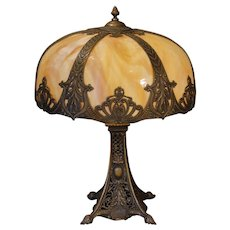 Magnificent Footed Slag Glass Panel Lamp w/ Dome Shade and Open Filigree Base