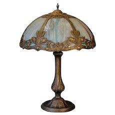 Beautiful Salem Brothers Art Nouveau Slag Glass Panel Lamp