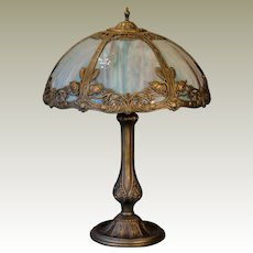 Beautiful Salem Brothers Art Nouveau Slag Glass Panel Lamp
