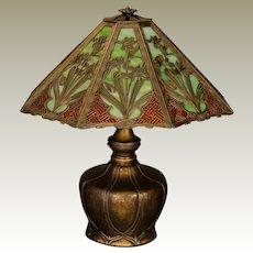 Sumptuous Bradley & Hubbard Art Nouveau/ Arts & Crafts Obverse Painted Slag Glass Lamp w/ Pod Base