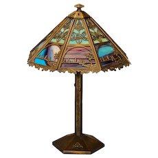 Gorgeous Bradley & Hubbard Arts & Crafts Scenic 16 Panel Slag Glass Lamp