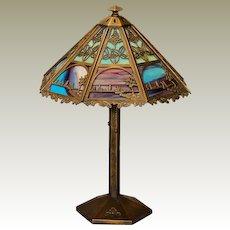 Gorgeous Bradley & Hubbard Arts & Crafts Scenic 16 Panel Murano Slag Glass Lamp