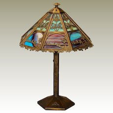 Gorgeous Bradley & Hubbard Arts & Crafts Scenic 16 Panel Slag Glass Lamp