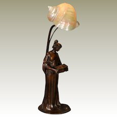Magnificent Signed Art Nouveau Figural Lady Holding Box w/ Marmoratus Shell Shade