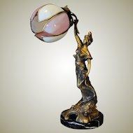 Large Signed Rousseau Art Nouveau Figural Lamp w/ Slag Glass Petal Shade