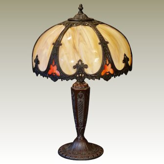Regal Medieval Gothic Double Panel Slag Glass Lamp