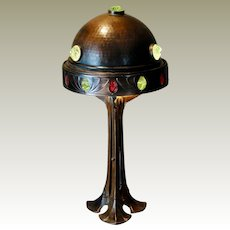 Tall Spectacular Jugendstil Art Nouveau Bronze Jeweled Lamp