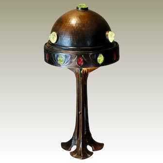 Tall Spectacular Jugendstil Art Nouveau Bronze Jeweled Lamp