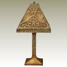 Large Mica Lined Pierced Brass Newcomb College Lamp w/ Cut Out Brass & Copper Base