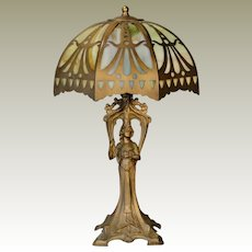 Statuesque Art Nouveau Figural Lamp w/ Cut Brass Slag Glass Lamp