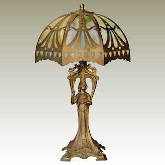 Statuesque Art Nouveau Figural Lamp w/ Cut Brass Slag Glass Lamp