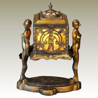 Asian Art Deco Figurines Holding Box w/ Dragon Base
