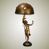 Fabulous German Signed Art Nouveau Dancer w/ Jeweled Copper Shade